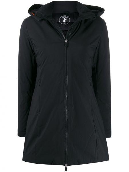 Черное длинное пальто с воротником Save The Duck