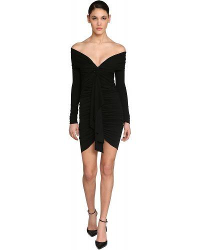 Czarna sukienka mini asymetryczna z długimi rękawami Alexandre Vauthier
