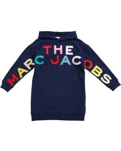 Хлопковое платье с карманами с вышивкой с капюшоном Little Marc Jacobs