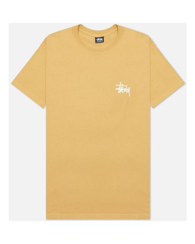 Хлопковая коричневая базовая футболка Stussy