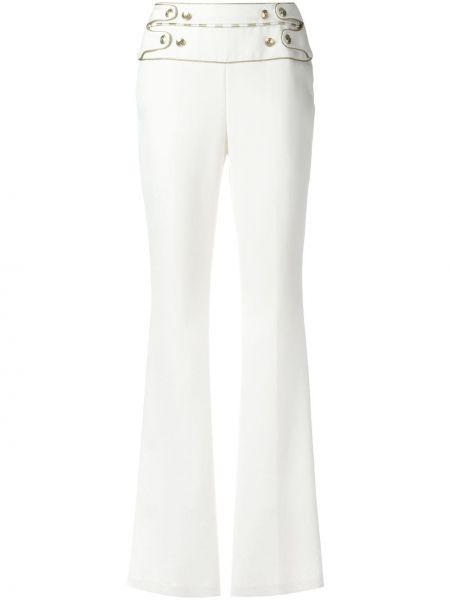 Белые брюки на пуговицах с высокой посадкой из вискозы Pierre Balmain