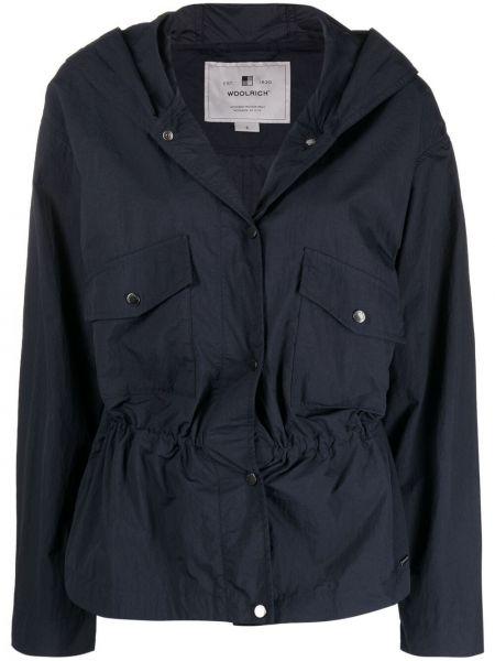 Синяя куртка с капюшоном на пуговицах Woolrich