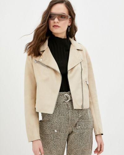 Бежевая кожаная куртка Q/s Designed By