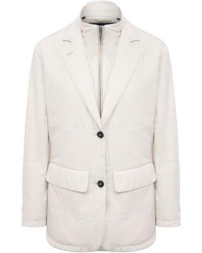 Кожаная куртка из полиэстера - бежевая Kiton