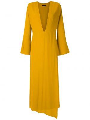 Желтое прямое платье макси с декольте на молнии Osklen