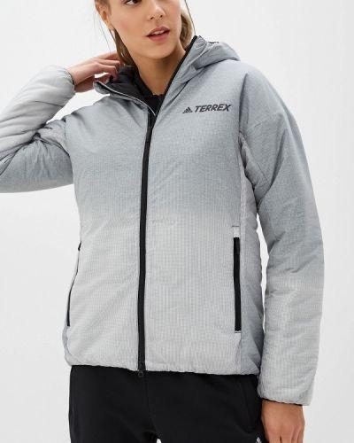 Утепленная куртка осенняя серая Adidas