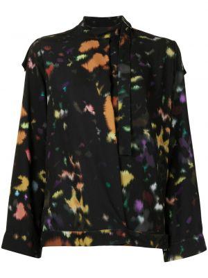 Черная блузка с высоким воротником Kenzo