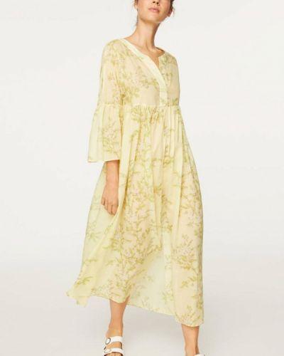 Желтое прямое платье Oysho