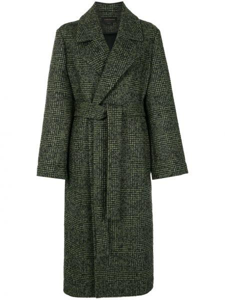 Шерстяное длинное пальто с капюшоном двубортное Karen Walker