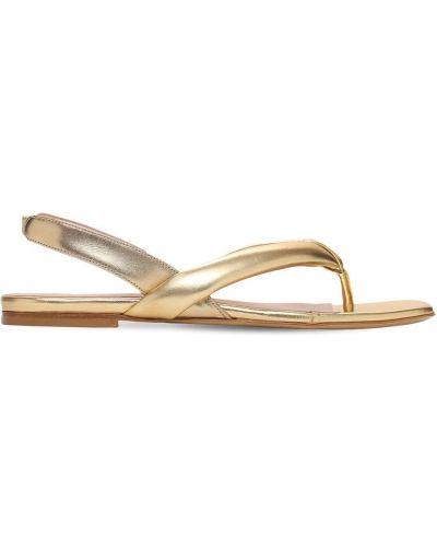 Кожаные стринги - золотые Gia Couture