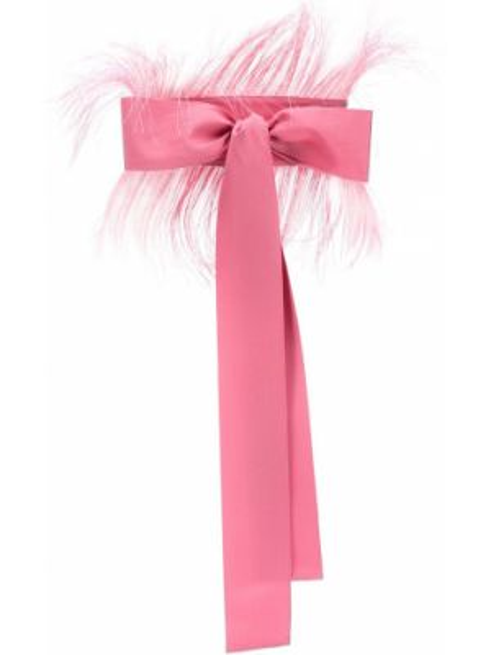 Розовый ремень из вискозы с поясом с бантом Sara Roka