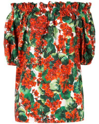 Блузка с коротким рукавом с цветочным принтом с рюшами Dolce & Gabbana