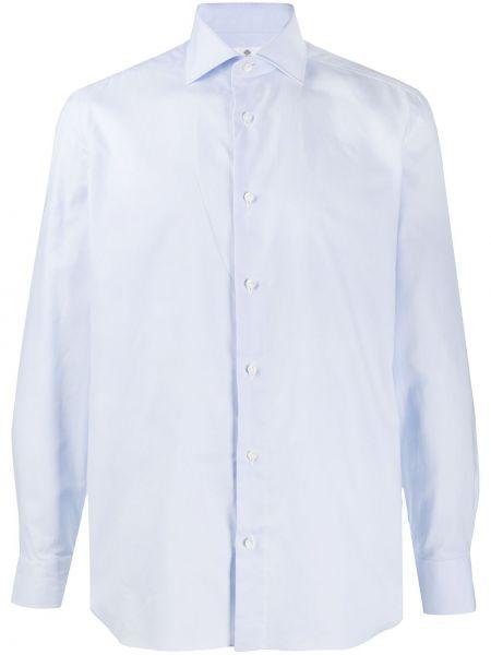 Niebieska koszula bawełniana zapinane na guziki Borrelli
