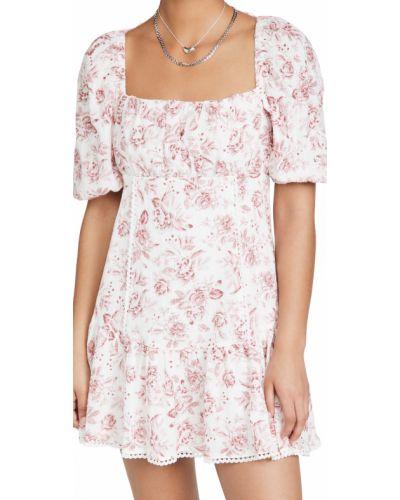 Кружевное платье мини с декольте в цветочный принт Minkpink