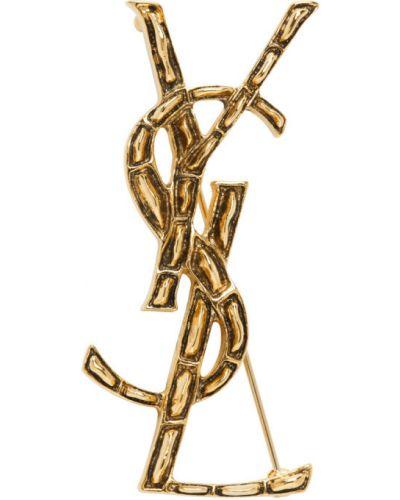 Брошь металлическая золотая Saint Laurent