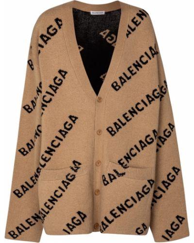 Бежевый шерстяной кардиган Balenciaga