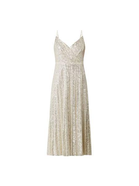 Złota sukienka wieczorowa rozkloszowana z cekinami Paradi
