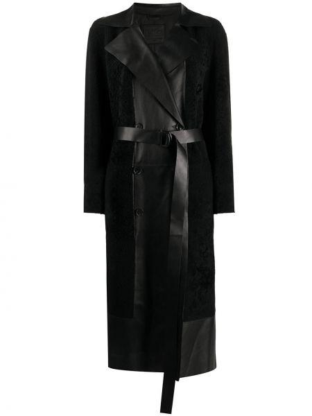 Черное прямое пальто с поясом с воротником Desa 1972