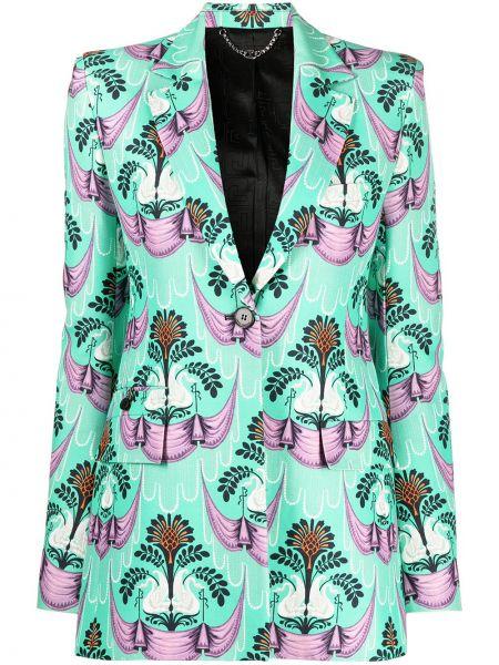 Зеленый однобортный удлиненный пиджак с карманами Paco Rabanne