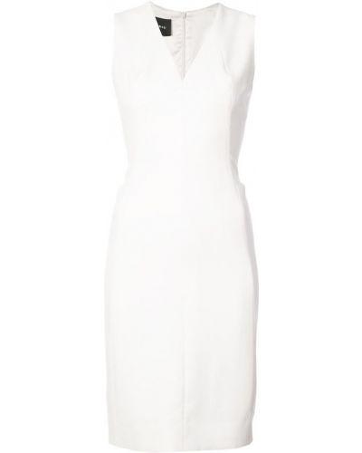Белое платье с V-образным вырезом Akris