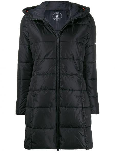 Черное пуховое длинное пальто с капюшоном Save The Duck