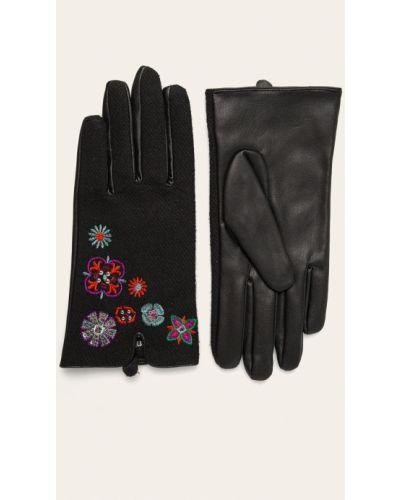 Кожаные перчатки акриловые с вышивкой Desigual