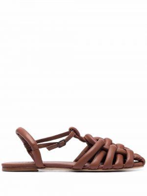 Brązowe sandały skorzane z klamrą Hereu
