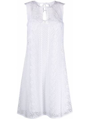 Шелковое белое платье трапеция Alberta Ferretti