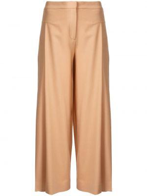 Шерстяные коричневые укороченные брюки с поясом свободного кроя Palmer / Harding