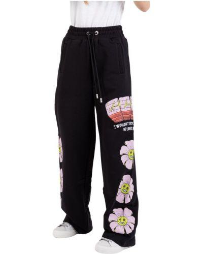 Czarne joggery w kwiaty Gcds