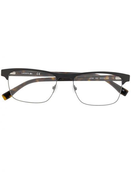 Brązowy oprawka do okularów metal plac wytłoczony Lacoste