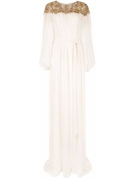 Белое нейлоновое платье с вырезом круглое Marchesa