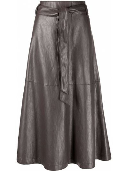 С завышенной талией кожаная юбка с карманами Luisa Cerano