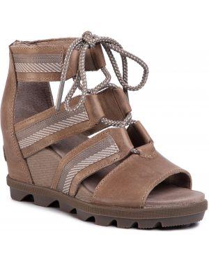 Brązowe sandały koronkowe Sorel
