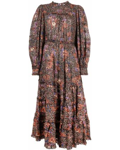 Czarna sukienka midi asymetryczna z wiskozy Ulla Johnson