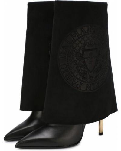 Черные сапоги на шпильке Balmain