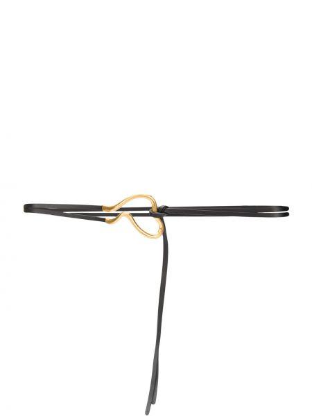Кожаный черный ремень с пряжкой с поясом Bottega Veneta