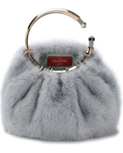 Вечерняя сумка маленькая с мехом большая Valentino