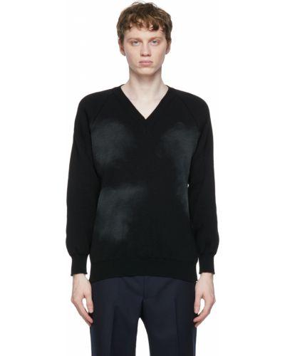 Czarny długi sweter z dekoltem w serek z raglanowymi rękawami Comme Des Garcons Homme Deux