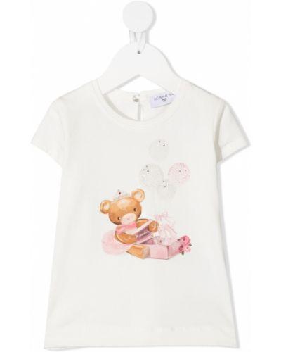 Прямая белая футболка с вырезом Monnalisa