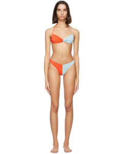 Niebieski nylon bikini na paskach prążkowany Gil Rodriguez