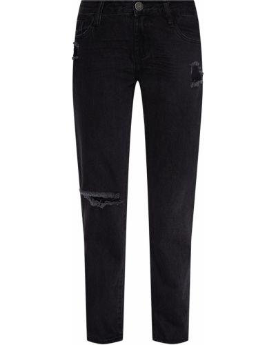 Хлопковые черные джинсы с высокой посадкой с высокой посадкой с отворотом One Teaspoon