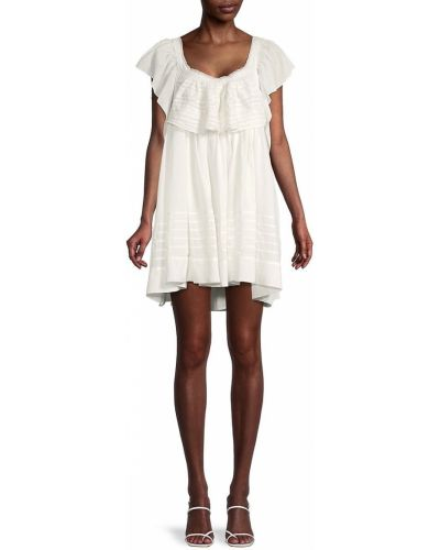 Бежевое платье мини свободного кроя с вырезом Free People