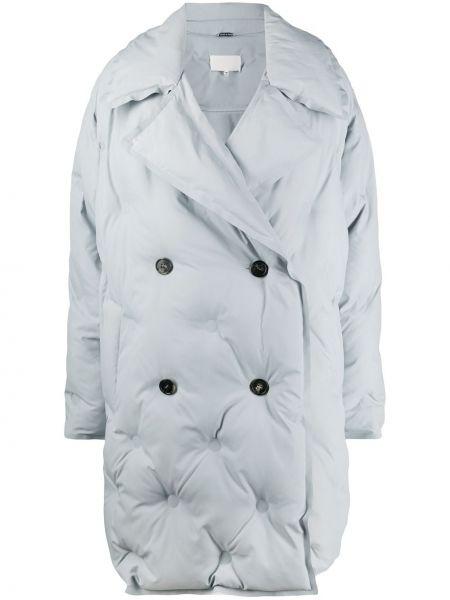 Серое стеганое длинное пальто двубортное Maison Margiela