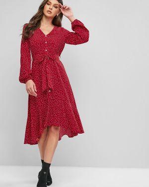 Платье с поясом с завышенной талией на пуговицах Zaful