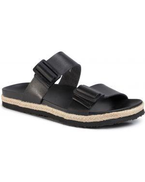 Sandały skórzane - czarne Lanetti