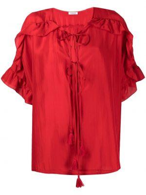 Красная шелковая блузка со вставками P.a.r.o.s.h.