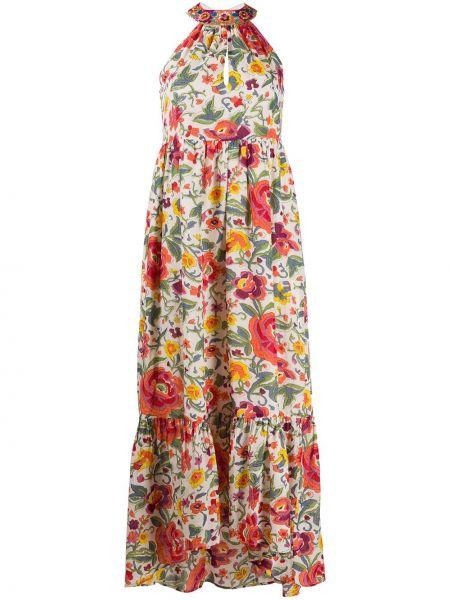Платье макси с цветочным принтом с оборками Twin-set