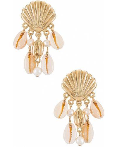 Złote kolczyki sztyfty perły miejskie Ettika