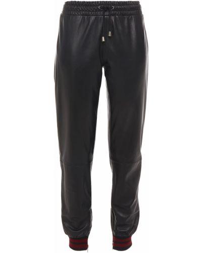 Вязаные кожаные черные брюки Muubaa